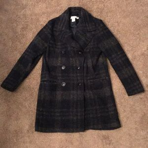 H&M wool plaid winter pea coat